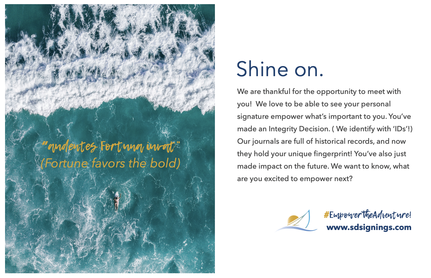 San Diego notary flyer that reads fortune favors the bold, and the importance of identity and integrity