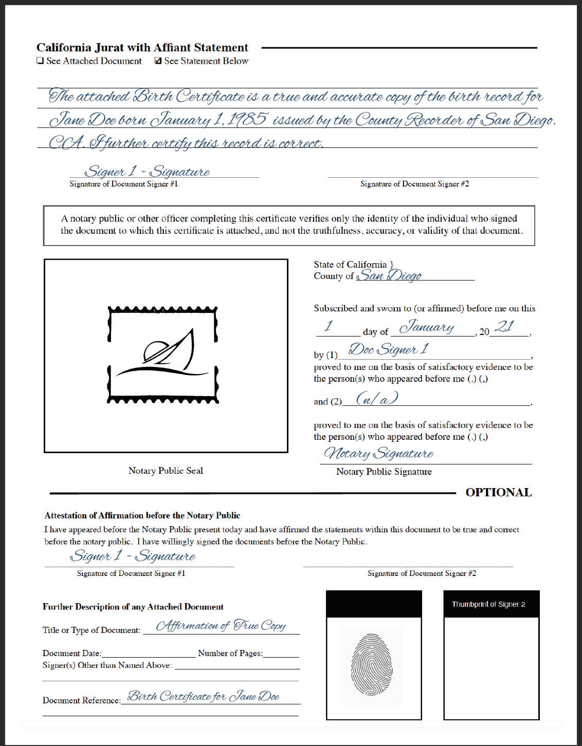 notary jurat form with affirmation statement