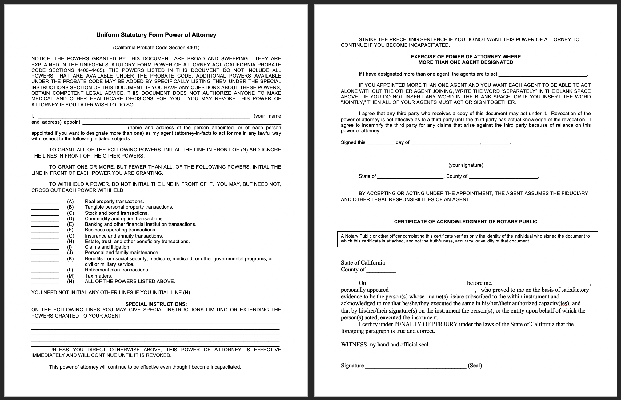 San Diego Notary, an image of a Power of Attorney Document that has not been filled out